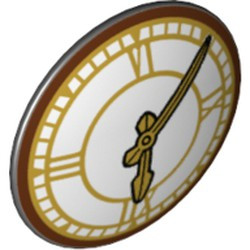 Black Minifigure, Shield Round with Rounded Front with Clock with Gold Hands and Roman Numerals Pattern