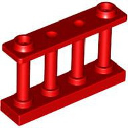 Red Fence 1 x 4 x 2 Spindled with 2 Studs - used