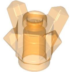 Trans-Orange Rock 1 x 1 Crystal 4 Point (Brick, Round 1 x 1 with 4 Upward Fins / Points) - used