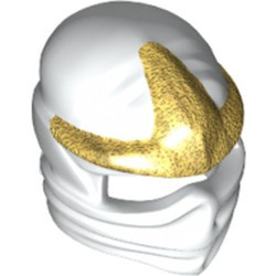 White Minifigure, Headgear Ninjago Wrap with Gold 3 Point Emblem Pattern
