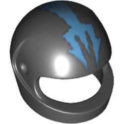 Black Minifigure, Headgear Helmet Motorcycle (Standard) - used with Blue Trident Pattern (Aquaraiders II) - used