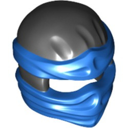 Black Minifigure, Headgear Ninjago Wrap Type 2 with Blue Wraps and Knot Pattern