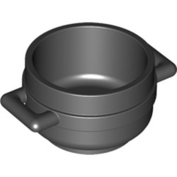 Black Minifigure, Utensil Pot Cauldron 3 x 3 x 1 & 3/4 with Handles