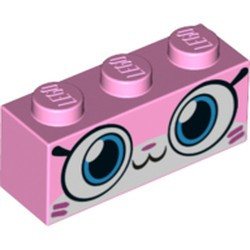 Bright Pink Brick 1 x 3 with Cat Face Wide Eyes, Smiling Closed Mouth, Dark Pink Hash Lines Pattern (Camouflage Unikitty) - new
