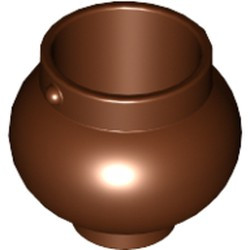 Reddish Brown Minifigure, Utensil Pot Small with Handle Holders