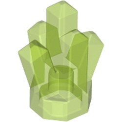 Trans-Bright Green Rock 1 x 1 Crystal 5 Point - used