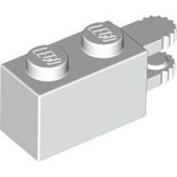 White Hinge Brick 1 x 2 Locking with 2 Fingers Horizontal End, 9 Teeth - used
