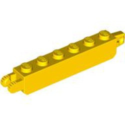 Yellow Hinge Brick 1 x 6 Locking with 1 Finger Vertical End and 2 Fingers Vertical End, 9 Teeth - used