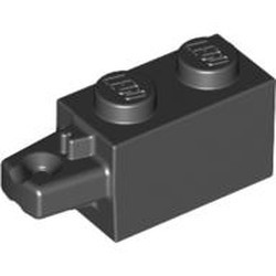 Black Hinge Brick 1 x 2 Locking with 1 Finger Horizontal End - used