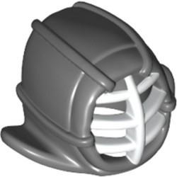Dark Bluish Gray Minifigure, Headgear Helmet Ninjago Kendo with White Grille Mask Pattern
