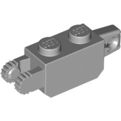 Light Bluish Gray Hinge Brick 1 x 2 Locking with 1 Finger Vertical End and 2 Fingers Vertical End, 9 Teeth - used