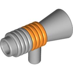 Light Bluish Gray Minifigure, Utensil Loudhailer / Megaphone with Orange Stripe Pattern