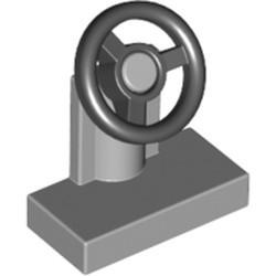 Light Bluish Gray Vehicle Steering Stand 1 x 2 with Black Steering Wheel