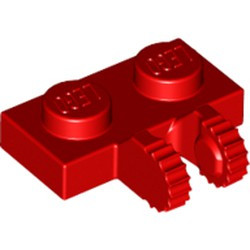 Red Hinge Plate 1 x 2 Locking with 2 Fingers on Side and 9 Teeth - used