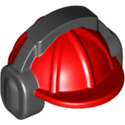 Red Minifigure, Headgear Helmet Construction with Black Ear Protector / Headphones Pattern