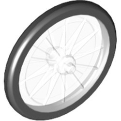 Trans-Clear Wheel Bicycle with Fixed Black Hard Rubber Tire (1-Piece Wheel) - new