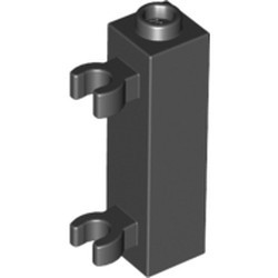 Black Brick, Modified 1 x 1 x 3 with 2 Clips (Vertical Grip) - used - Hollow Stud