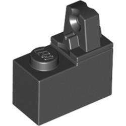 Black Hinge Brick 1 x 2 Locking with 1 Finger Top