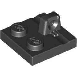 Black Hinge Plate 2 x 2 Locking with 1 Finger on Top