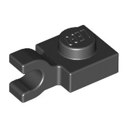 Black Plate, Modified 1 x 1 with U Clip (Horizontal Grip) - used