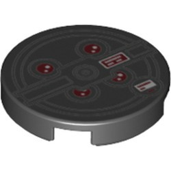 Black Tile, Round 2 x 2 with Bottom Stud Holder with Red Lights and Black Concentric Circles (Proton Pack) - new Pattern