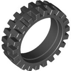 Black Tire 23mm D. x 7mm Offset Tread - Band Around Center of Tread