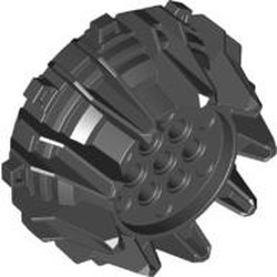 Black Wheel Hard Plastic with Small Cleats and Flanges - used