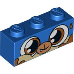 Blue Brick 1 x 3 with Dog Face Wide Dark Orange Eyes, Dark Orange Splotches Pattern (Dessert Puppycorn) - new
