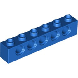 Blue Technic, Brick 1 x 6 with Holes - used