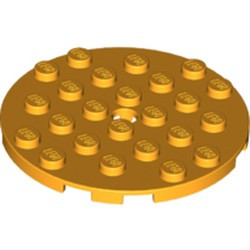 Bright Light Orange Plate, Round 6 x 6 with Hole