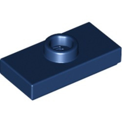 Dark Blue Plate, Modified 1 x 2 with 1 Stud with Groove and Bottom Stud Holder (Jumper) - used