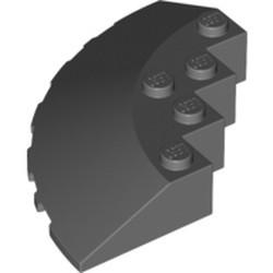 Dark Bluish Gray Brick, Round Corner 6 x 6 with Slope 33 Edge, Facet Cutout