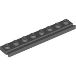 Dark Bluish Gray Plate, Modified 1 x 8 with Door Rail