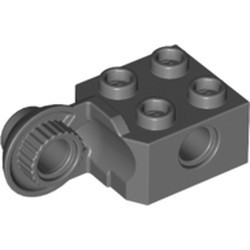 Dark Bluish Gray Technic, Brick Modified 2 x 2 with Pin Holes and Rotation Joint Ball Half (Vertical Side) - used