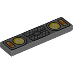 Dark Bluish Gray Tile 1 x 4 with Yellow and Orange Headlights and Grille Pattern - new