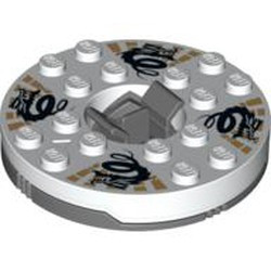 Dark Bluish Gray Turntable 6 x 6 Round Base with White Top with Black Dragons on Gold Pattern (Ninjago Spinner) - used
