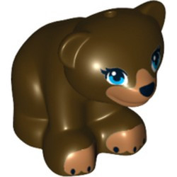 Dark Brown Bear, Friends / Elves, Baby Cub, Sitting with Black Nose, Dark Azure Eyes and Dark Tan Paws and Muzzle Pattern