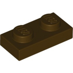 Dark Brown Plate 1 x 2 - used