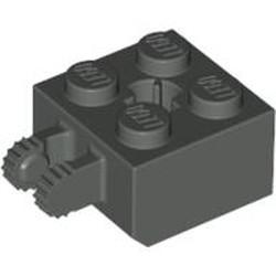 Dark Gray Hinge Brick 2 x 2 Locking with 2 Fingers Vertical and Axle Hole, 9 Teeth - used