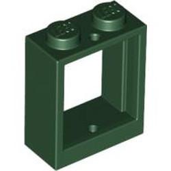Dark Green Window 1 x 2 x 2 Flat Front - used