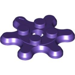 Dark Purple Plate, Round 2 x 2 with 6 Gear Teeth / Flower Petals - new