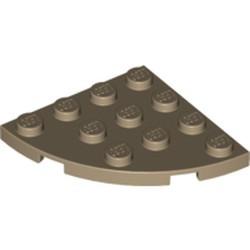 Dark Tan Plate, Round Corner 4 x 4