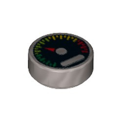 Flat Silver Tile, Round 1 x 1 with Black Gauge with Red Pointer and Green, Yellow, and Red Tick Marks Pattern