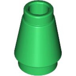 Green Cone 1 x 1 with Top Groove - used