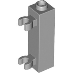Light Bluish Gray Brick, Modified 1 x 1 x 3 with 2 Clips (Vertical Grip) - Hollow Stud - new