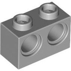 Light Bluish Gray Technic, Brick 1 x 2 with Holes