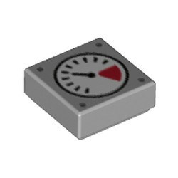 Light Bluish Gray Tile 1 x 1 with Groove with White and Red Gauge, Black Thin Needle, 4 Dark Bluish Gray Dots Pattern
