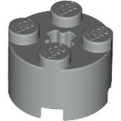 Light Gray Brick, Round 2 x 2 with Axle Hole - used