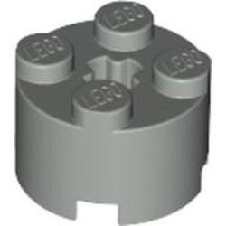 Light Gray Brick, Round 2 x 2 with Axle Hole