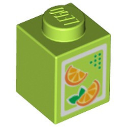 Lime Brick 1 x 1 with Oranges Pattern (Juice Carton) - new